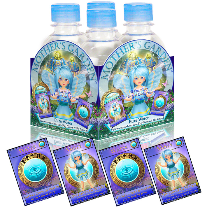 Four 8 ounce bottles of water and four limited edition trading cards